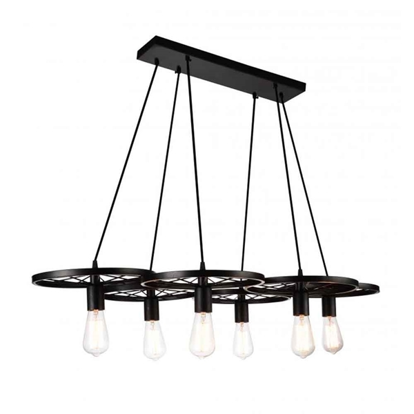 "Picture of 41"" 6 Light Down Chandelier with Black finish"