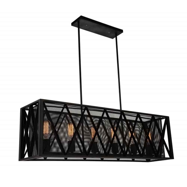 """Picture of 41"""" 6 Light Up Chandelier with Black finish"""