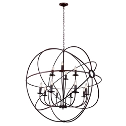 """42"""" 12 Light Up Chandelier with Brown finish"""