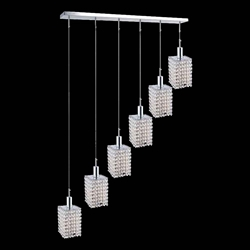 "42"" 6 Light Multi Light Pendant with Chrome finish"