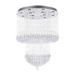 "42"" Chateaux Modern Foyer Crystal Chandelier Mirror Stainless Steel Base 12 Lights"