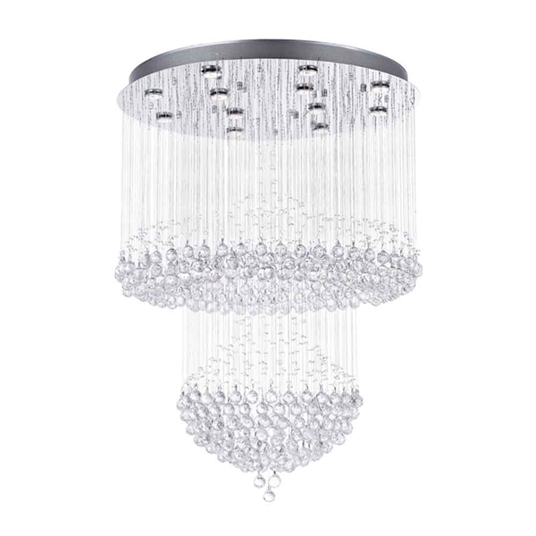 "Picture of 42"" Chateaux Modern Foyer Crystal Chandelier Mirror Stainless Steel Base 12 Lights"