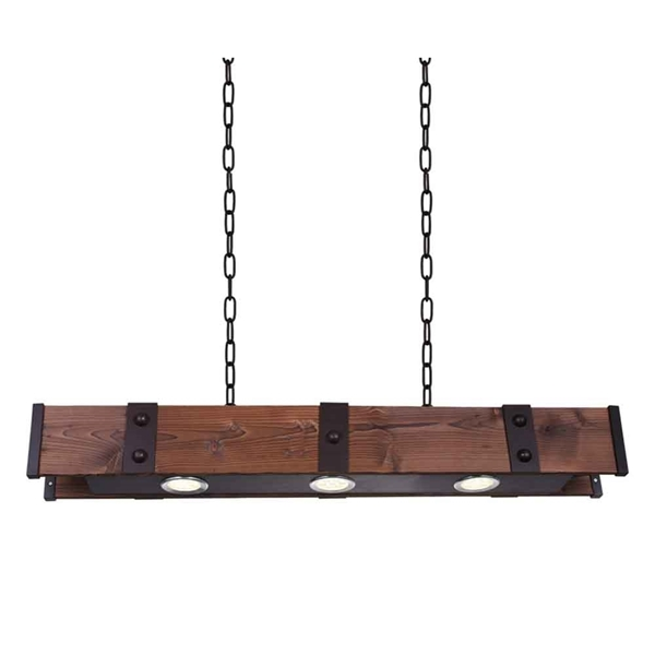 """Picture of 42"""" LED Drum Shade Island Light with Black & Wood finish"""