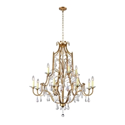 "43"" 12 Light Up Chandelier with Oxidized Bronze finish"