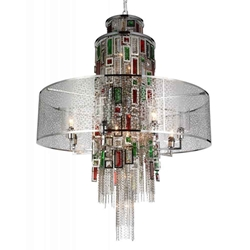 """43"""" 15 Light Drum Shade Chandelier with Chrome finish"""