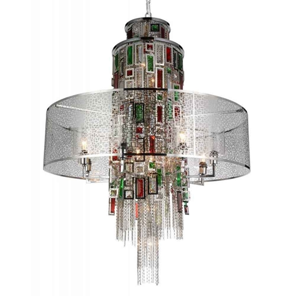 "Picture of 43"" 15 Light Drum Shade Chandelier with Chrome finish"