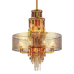 """43"""" 15 Light Drum Shade Chandelier with Gold finish"""
