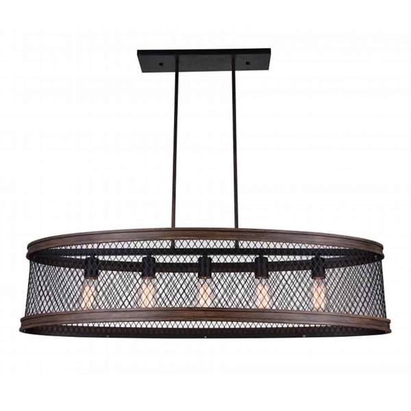 "Picture of 43"" 5 Light Drum Shade Island Light with Black finish"