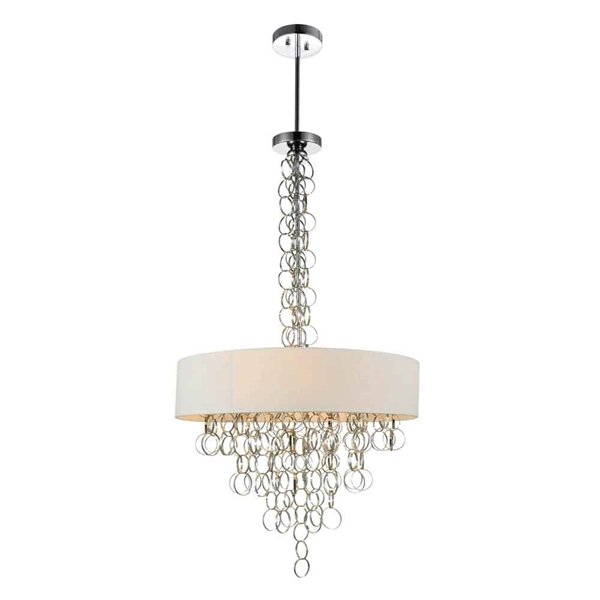 "Picture of 43"" 8 Light Drum Shade Chandelier with Chrome finish"