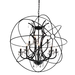 """44"""" 12 Light Up Chandelier with Brown finish"""