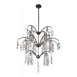 """44"""" 16 Light Down Chandelier with Silver Mist finish"""