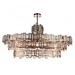 "44"" 21 Light Down Chandelier with Champagne finish"