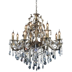 """45"""" 12 Light Up Chandelier with Antique Brass finish"""
