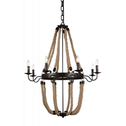 """45"""" 8 Light Up Chandelier with Rust finish"""
