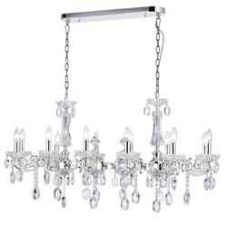 """46"""" 12 Light Up Chandelier with Silver finish"""