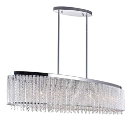 "46"" 7 Light Drum Shade Chandelier with Chrome finish"