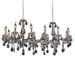 "46"" Ottone Traditional Candle Linear Black Chandelier 12 Lights"
