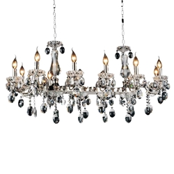 "46"" Ottone Traditional Candle Linear Polished Chrome Chandelier 12 Lights"
