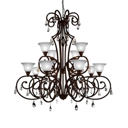 """47"""" 12 Light Candle Chandelier with Dark Bronze finish"""
