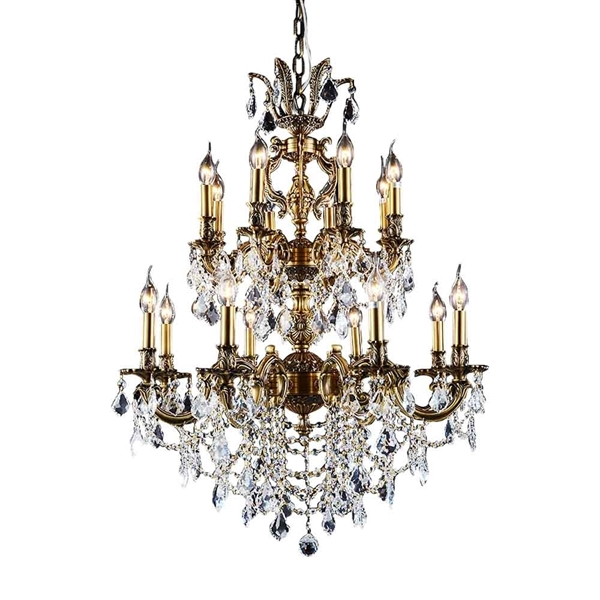 "Picture of 47"" 16 Light Up Chandelier with French Gold finish"
