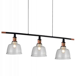 "47"" 3 Light Pool Table Light with Black & Copper finish"