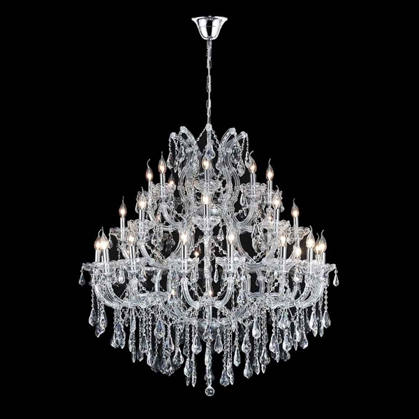 "Picture of 47"" 33 Light Up Chandelier with Chrome finish"
