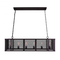 "47"" 6 Light Island Chandelier with Reddish Black finish"