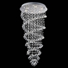 "Picture of 47"" Double Spiral Modern Foyer Crystal Round Chandelier Mirror Stainless Steel Base 6 Lights"