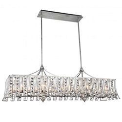 "48"" 10 Light Drum Shade Chandelier with Antique Forged Silver finish"