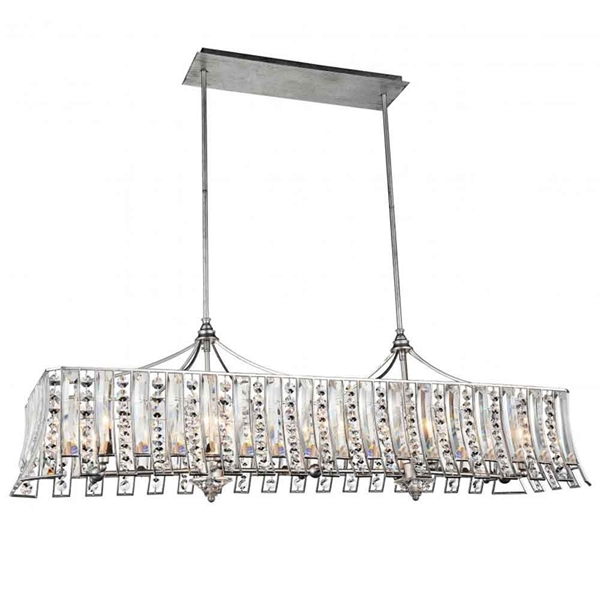 """Picture of 48"""" 10 Light Drum Shade Chandelier with Antique Forged Silver finish"""
