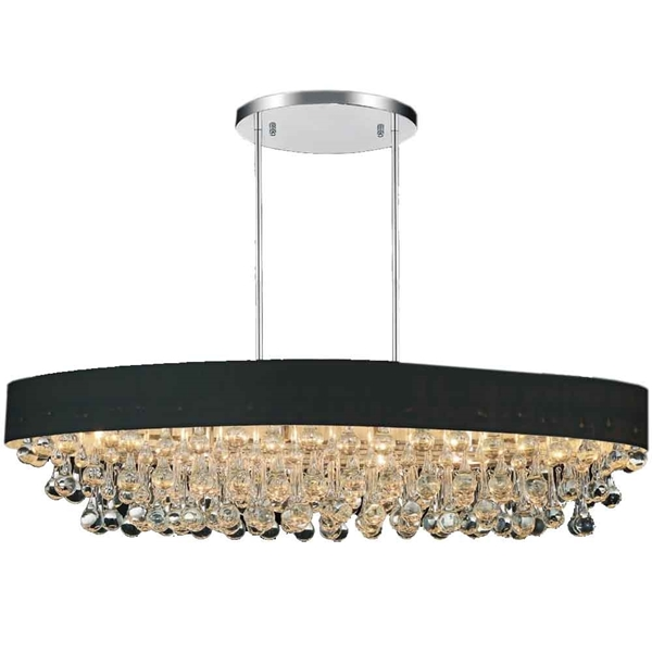 "Picture of 48"" 10 Light Drum Shade Chandelier with Chrome finish"