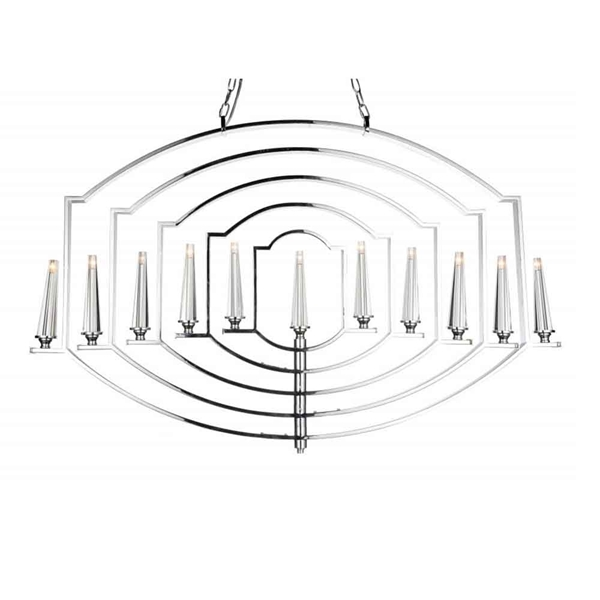 "Picture of 48"" 11 Light Up Chandelier with Chrome finish"
