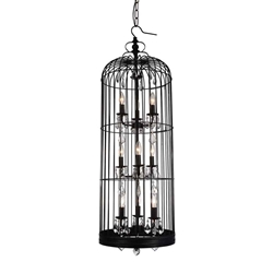 """48"""" 9 Light Up Chandelier with Black finish"""