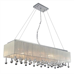 "48"" Gocce Modern String Shade Crystal Rectangular Chandelier Chrome with Black / White / Silver Shade 17 Lights"