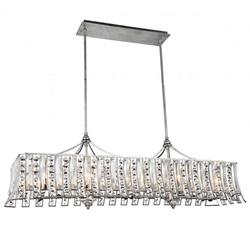 "48"" Nile Modern Crystal Rectangular Chandelier Antique Forged Silver 10 Lights"