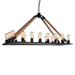 "49"" 18 Light Up Chandelier with Black finish"