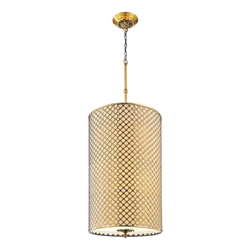 "49"" 8 Light Drum Shade Chandelier with French Gold finish"