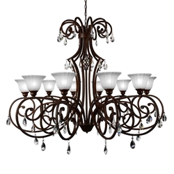 """50"""" 10 Light Candle Chandelier with Dark Bronze finish"""