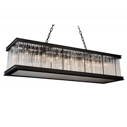 "50"" 14 Light  Chandelier with Black finish"