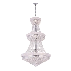 """50"""" Empire Crystal Large Foyer Round 3-Tier Chandelier Polished Chrome 32 Lights"""