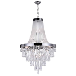 "52"" Liberale Modern Crystal Large Foyer Round Chandelier Polished Chrome 17 Lights"