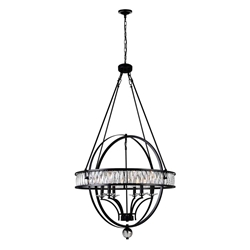 """53"""" 6 Light  Chandelier with Black finish"""