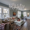 """Picture of 54"""" 14 Light Up Chandelier with Pearl White finish"""