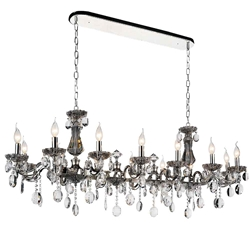 "54"" Ottone Traditional Candle Linear Polished Chrome Chandelier 14 Lights"