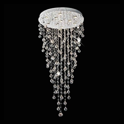 "56"" Raindrops Modern Foyer Crystal Round Chandelier Mirror Stainless Steel Base 10 Lights"