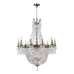 "57"" Caro Traditional Crystal Round Foyer Chandelier Antique Brass 24 Lights"