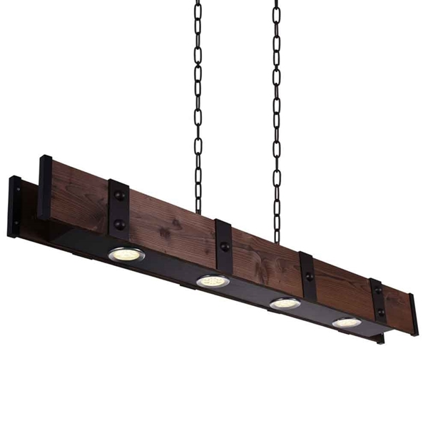 """Picture of 59"""" LED Drum Shade Island Light with Black & Wood finish"""