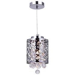"6"" Web Modern Laser Cut Crystal Round Mini Pendant Stainless Steel 1 Light"