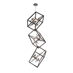 """62"""" 12 Light Up Mini Chandelier with Luxor Silver finish"""