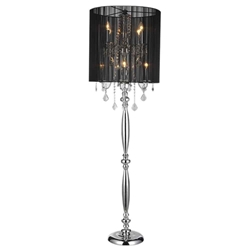 "67"" Verona Contemporary String Drum Shade Crystal Floor Lamp Polished Chrome Black with Shade 8 Lights"